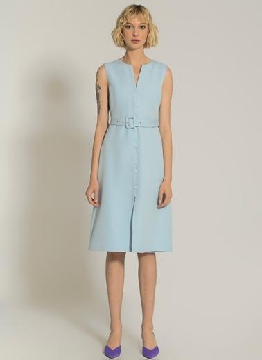 NGSTYLE Düğme Detaylı Midi Elbise Mavi
